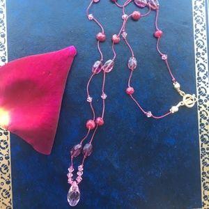 Jewelry - 306: Ruby/Pink Swarovski Crystal Silk Tie Necklace